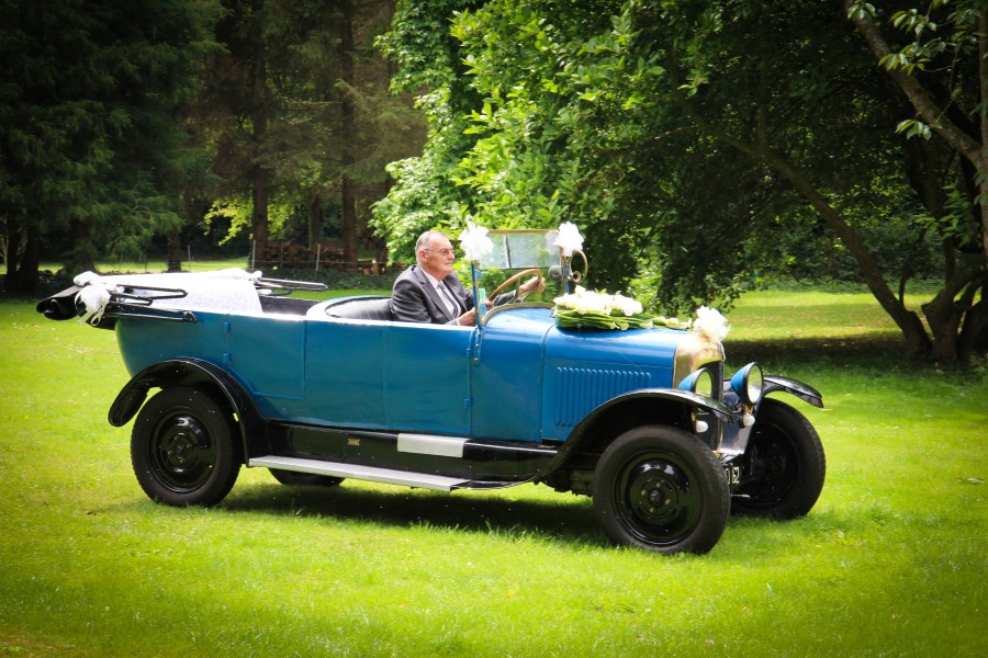 Vintage car at wedding venue Big Chateau, Hallines, Pas-de-Calais, Northern France
